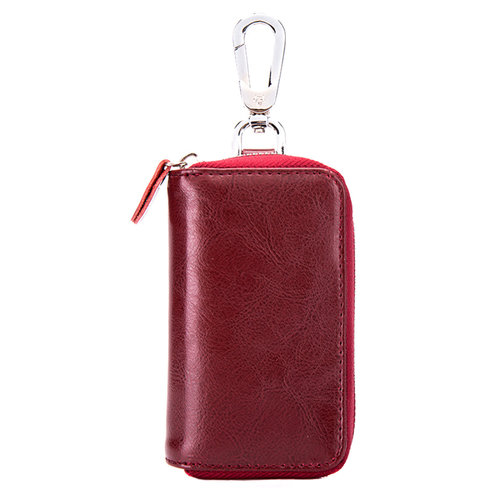 Su.B Genuine Leather Car Key Case - Key Holder with Long Key Rings and Belt Hook - Card Pocket for Banknotes - Wine Red