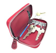 Genuine Leather Car Key Case - Key Holder with Long Key Rings and Belt Hook - Card Pocket for Banknotes - Wine Red