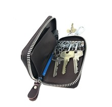 Genuine Leather Key Case - Key Holder Card Wallet with Car Key Pocket - 1 Removable ring - Dark Brown