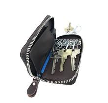 Genuine Leather Key Case - Key Holder Card Wallet with Car Key Pocket - 1 Removable ring - Dark Brown