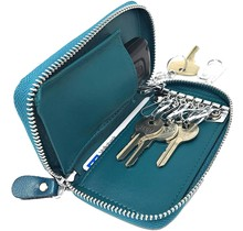 Genuine Leather Car Key Case - Key Holder with Long Key Rings and Belt Hook - Card Pocket for Banknotes - Teal