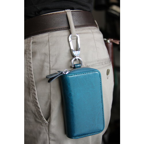 Su.B Genuine Leather Car Key Case - Key Holder with Long Key Rings and Belt Hook - Card Pocket for Banknotes - Teal