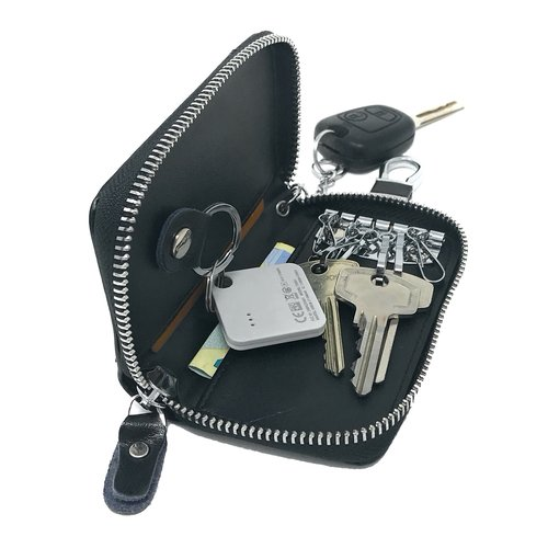 Su.B Genuine Leather Key Case Card Holder - 6 Hooks, 2 Long Car Key Chain - 1 Outer, 2 Inner Card Banknotes Slots - Black