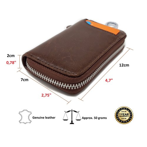 Su.B Genuine Leather Key Case Card Holder - 6 Hooks, 2 Long Car Key Chain - 1 Outer, 2 Inner Card Banknotes Slots - Brown