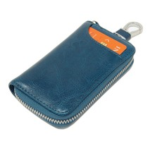 Genuine Leather Key Case Card Holder - 6 Hooks, 2 Long Car Key Chain - 1 Outer, 2 Inner Card Banknotes Slots - Teal