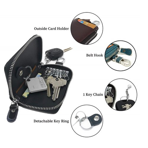 Su.B Genuine Leather Key Case Card Holder - 6 Hooks, 2 Long Car Key Chain - 1 Outer, 2 Inner Card Banknotes Slots - Teal