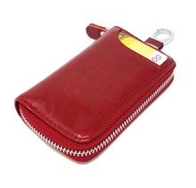 Genuine Leather Key Case Card Holder - 6 Hooks, 2 Long Car Key Chain - 1 Outer, 2 Inner Card Banknotes Slots - Wine Red