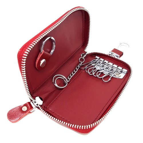 Su.B Genuine Leather Key Case Card Holder - 6 Hooks, 2 Long Car Key Chain - 1 Outer, 2 Inner Card Banknotes Slots - Wine Red