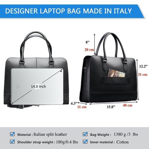 Su.B 13 Inch Laptop Bag with Trolley Strap for Women - Leather Briefcase, Handbag, Messenger Bag - Black