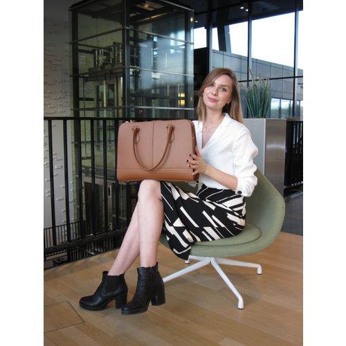 Su.B 13,3 Zoll Leder Laptoptasche für Damen - Umhängetasche, Handtasche, Aktentasche - mit Trolleybefestigung - Braun