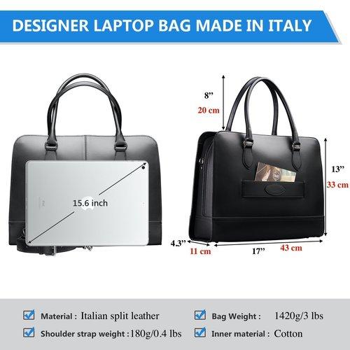 Su.B 15.6 Inch Laptop Bag with Trolley Strap for Women - Leather Briefcase, Handbag, Messenger Bag - Black