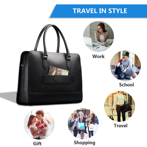 Su.B 15.6 Inch Laptop Bag with Trolley Strap for Women - Leather Briefcase, Handbag, Messenger Bag - Brown