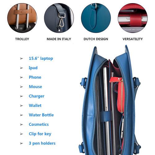 Su.B 15.6 Inch Laptop Bag with Trolley Strap for Women - Leather Briefcase, Handbag, Messenger Bag - Dark Blue