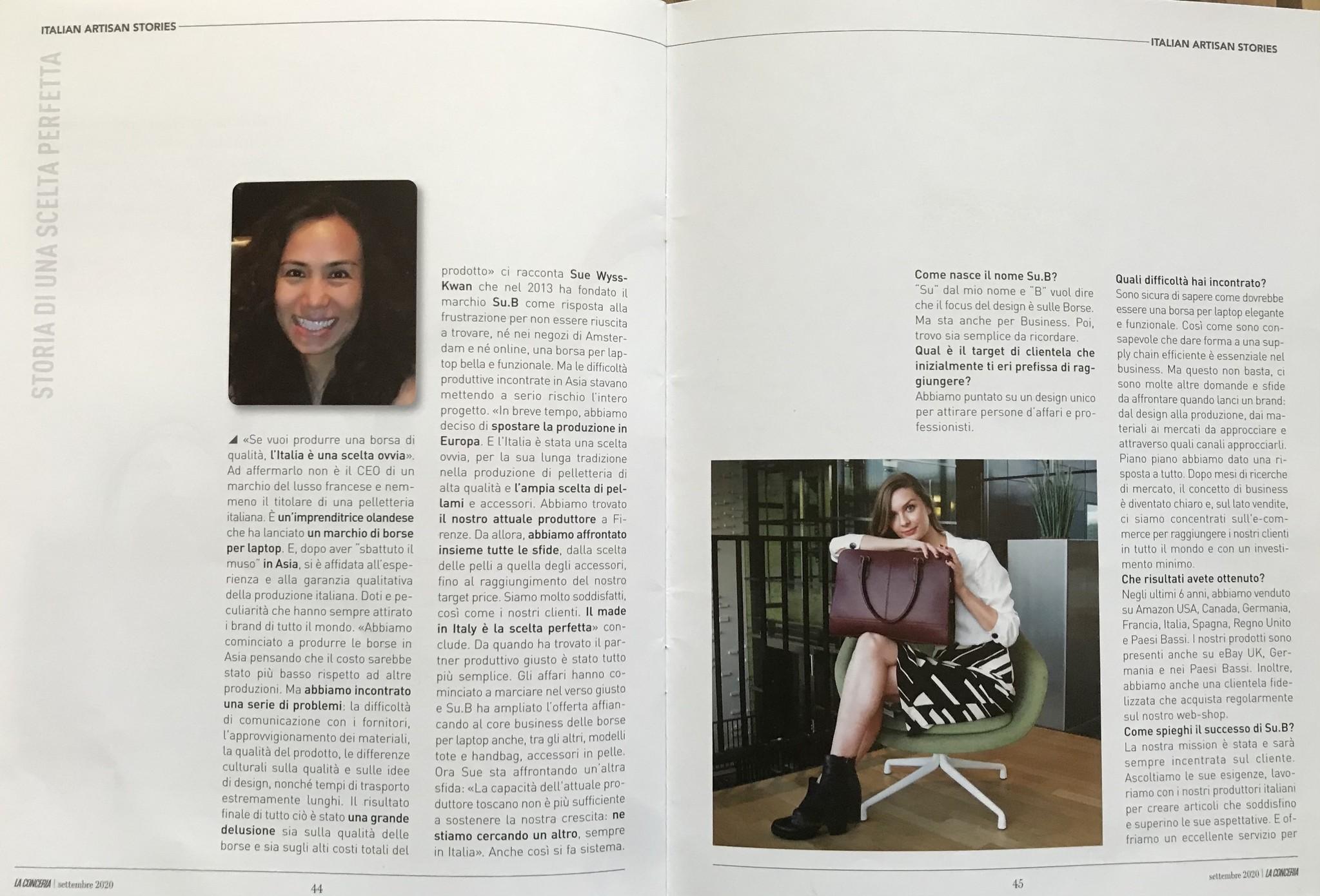 Het merkverhaal van Su.B is gepubliceerd in het Italiaanse tijdschrift LaConceria