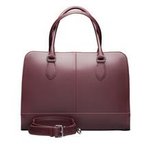 15,6 Zoll Leder Laptoptasche für Damen - Umhängetasche, Handtasche, Aktentasche - mit Trolleybefestigung - Bordeaux Rot