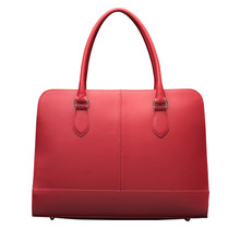 15.6 Inch Laptop Bag with Trolley Strap for Women - Leather Briefcase, Handbag, Messenger Bag - Wine Red