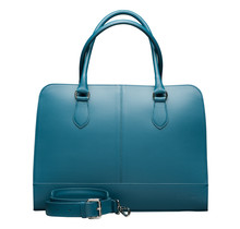 15.6 Inch Laptop Bag with Trolley Strap for Women - Leather Briefcase, Handbag, Messenger Bag - Turquoise