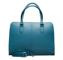 15,6 Zoll Leder Laptoptasche für Damen - Umhängetasche, Handtasche, Aktentasche - mit Trolleybefestigung - Türkis