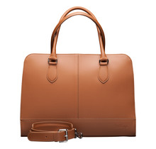 Women 15.6 inch Laptop Bag with Trolly Strap, Leather Briefcase with Computer Compartment, Handbag, Messenger, Made in Italy   Brown
