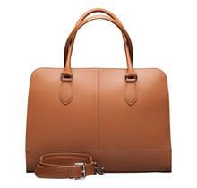 13,3 Zoll Leder Laptoptasche für Damen - Umhängetasche, Handtasche, Aktentasche - mit Trolleybefestigung - Braun