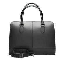 13 Inch Laptop Bag with Trolley Strap for Women - Leather Briefcase, Handbag, Messenger Bag - Black