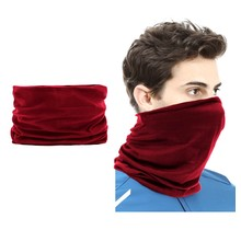2 pieces Multi-functional Polyester Cowl Neck Scarf  - Bandana - Balaclava - Ideal for Sports Cycling Motorbike - Unisex - Wine Red