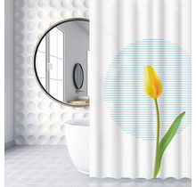 Shower Curtain 120 x 180 Polyester Shower Curtains with Rings | White and Yellow Tulip