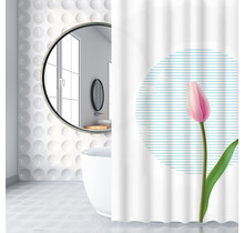 Shower Curtain 180 x 200 Polyester Bathroom  Curtains with Rings | White and Pink Tulip