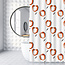 Su.B Shower Curtain 180 x 200 Polyester Bathroom Curtains with Rings   White and Orange Tulip
