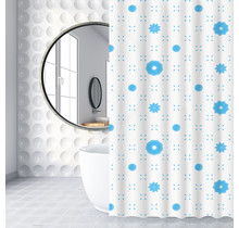 Shower Curtain 120 x 180 Polyester Shower Curtains with Rings | White and Blue