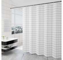 Shower Curtain 180 x 200 Polyester Bathroom  Curtains with Rings  | White Stripes
