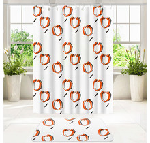 Designer Shower Curtain Set With Bathroom Floor Mat and Rings Polyester 180 x 200 Waterproof Non-Slip Mat 50 x 80 | White and Orange Tulip