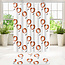 Su.B.dgn Designer Shower Curtain Set With Bathroom Floor Mat and Rings Polyester 180 x 200 Waterproof Non-Slip Mat 50 x 80 | White and Orange Tulip