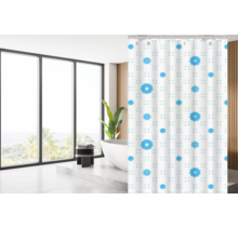 Designer Shower Curtain 180 x 200 Polyester Washable Bathroom Curtains with Rings | White and Blue
