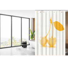 Designer Shower Curtain 180 x 200 Polyester Washable Bathroom  Curtains with Rings | White and Orange Cherry