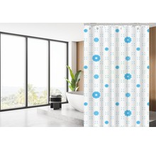 Designer Shower Curtain 120 x 180 Polyester Shower Curtains with Rings | White and Blue