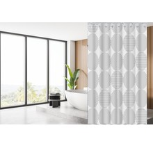 Designer Shower Curtain 180 x 200 Polyester Bathroom  Curtains with Rings | White and Grey Circle