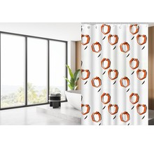Designer Shower Curtain 180 x 200 Polyester Washable Bathroom Curtains with Rings | White and Orange Tulip