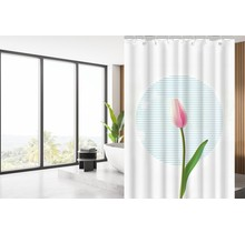 Designer Shower Curtain 180 x 200 Polyester Washable Bathroom  Curtains with Rings | White and Pink Tulip