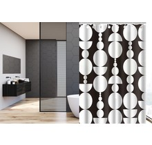 Designer Shower Curtain 120 x 180 Polyester Washable Shower Curtains with Rings   Black and White Circle