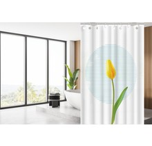 Designer Shower Curtain 120 x 180 Polyester Shower Curtains with Rings | White and Yellow Tulip