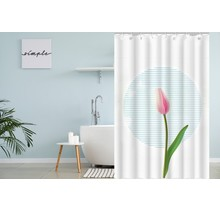 Designer Shower Curtain 120 x 180 Polyester Washable Shower Curtains with Rings   White and Pink Tulip