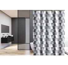 Bedruckter Duschvorhang aus Polyester 120 x 180 cm - Wasserdicht - Mit Ringen | Grau Dreieck