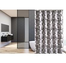 Bedruckter Duschvorhang aus Polyester 120x180 cm - Wasserdicht - Mit Ringen   Grau Quadrat