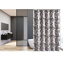 Shower Curtain 120 x 180 Polyester Washable Shower Curtains with Rings    Gray Square