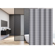 Shower Curtain 180 x 200 Polyester Washable  Bathroom  Curtains with Rings  | Gray Stripes