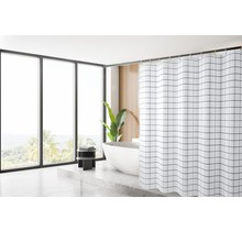 Shower Curtain 180 x 200 Polyester Washable Bathroom  Curtains with Rings  | White Stripes
