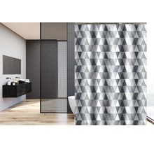 Shower Curtain 180 x 200 Polyester Washable Bathroom  Curtains with Rings  | Gray Triangle