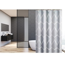 Shower Curtain 180 x 200 Polyester Washable Bathroom  Curtains with Rings  | Gray Pattern