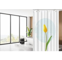 Designer Shower Curtain 180 x 200 Polyester Washable Bathroom Curtains with Rings | White and Yellow Tulip